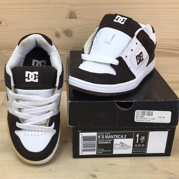 987fc2572 DC Manteca 2 Skate Shoes Kids Size 1.5 White Brown